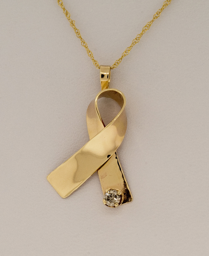 14K Gold Cancer Awareness Ribbon Pendant with 0.10 ct Diamond